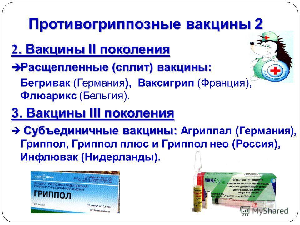 Противогриппозные вакцины 2 2. Вакцины II поколения Расщепленные (сплит) вакцины: Расщепленные (сплит) вакцины: Бегривак (Германия), Ваксигрип (Франция), Флюарикс (Бельгия). 3. Вакцины III поколения Субъединичные вакцины: Субъединичные вакцины: Агрип