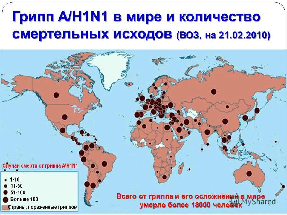 Грипп A/H1N1 в мире и количество смертельных исходов (ВОЗ, на 21.02.2010) Всего от гриппа и его осложнений в мире умерло более 18000 человек