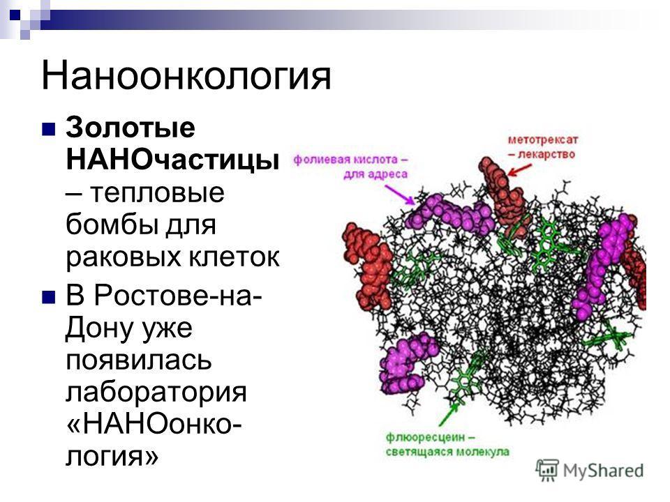 Наноонкология Золотые НАНОчастицы – тепловые бомбы для раковых клеток. В Ростове-на- Дону уже появилась лаборатория «НАНОонко- логия»