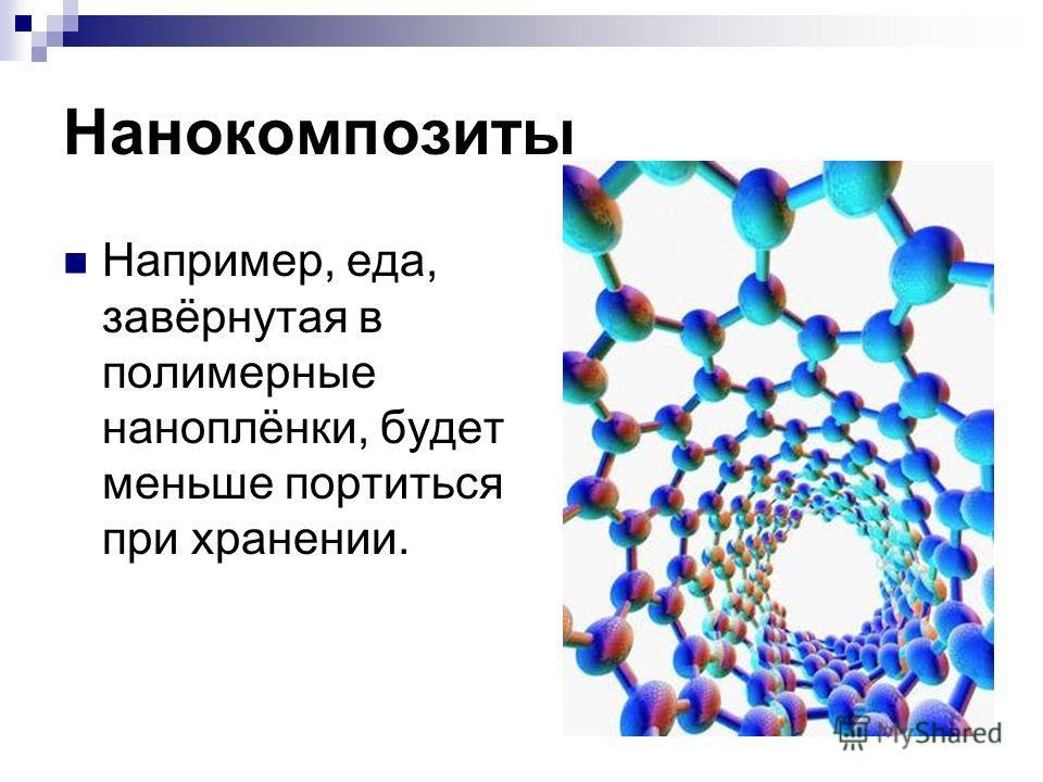 Нанокомпозиты Например, еда, завёрнутая в полимерные наноплёнки, будет меньше портиться при хранении.