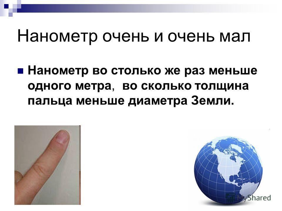 Нанометр очень и очень мал Нанометр во столько же раз меньше одного метра, во сколько толщина пальца меньше диаметра Земли.