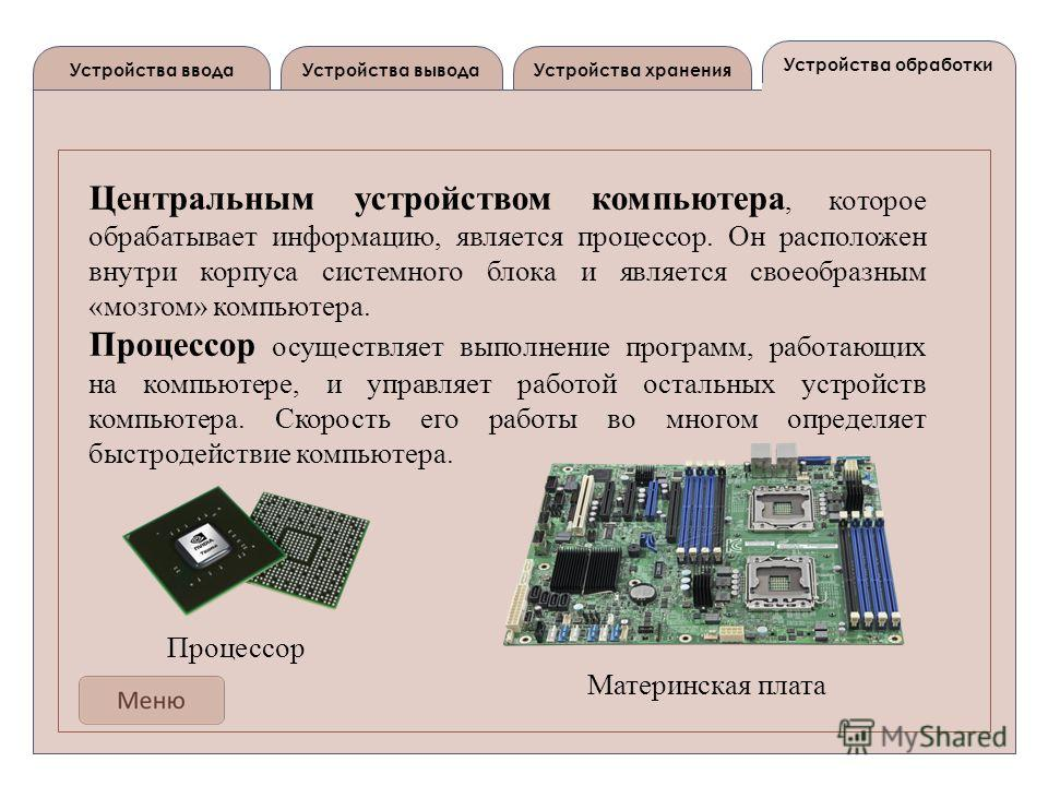 Устройства выводаУстройства ввода Устройства обработки Устройства хранения Центральным устройством компьютера, которое обрабатывает информацию, является процессор. Он расположен внутри корпуса системного блока и является своеобразным «мозгом» компьют