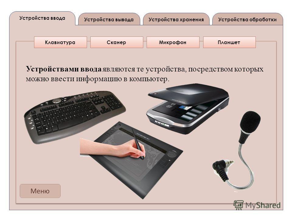 Устройства вывода Устройства ввода Устройства обработкиУстройства хранения КлавиатураСканерМикрофонПланшет Устройствами ввода являются те устройства, посредством которых можно ввести информацию в компьютер.