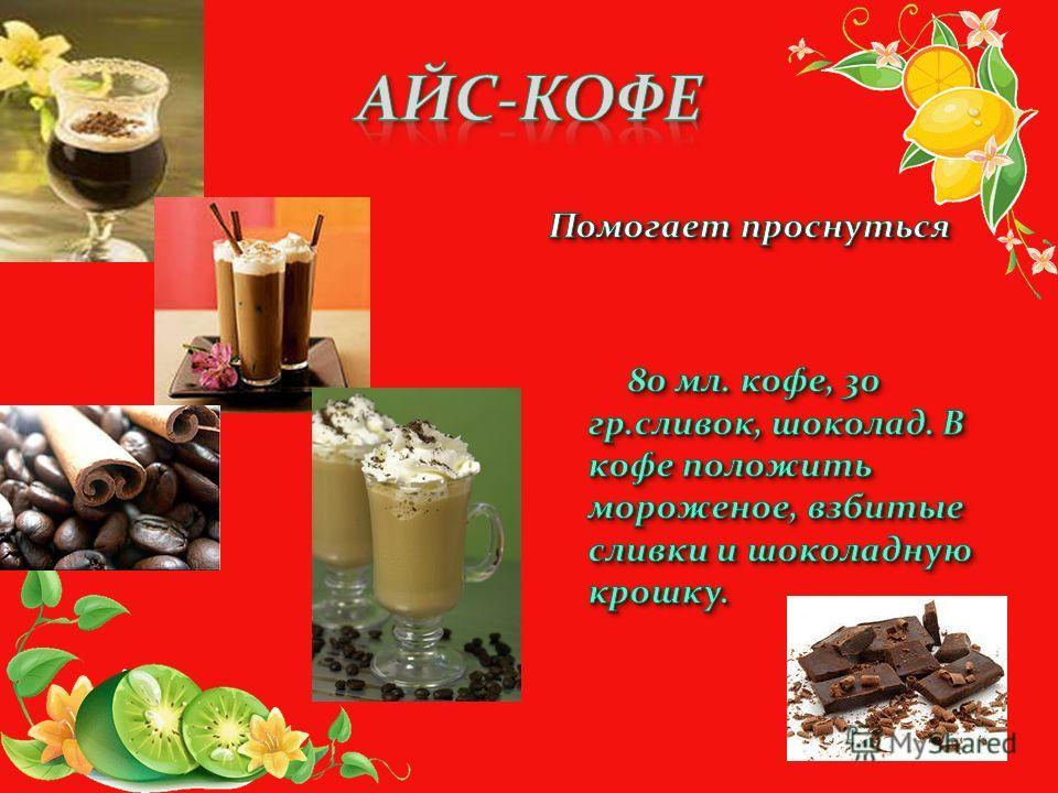Помогает проснуться 80 мл. кофе, 30 гр.сливок, шоколад. В кофе положить мороженое, взбитые сливки и шоколадную крошку.