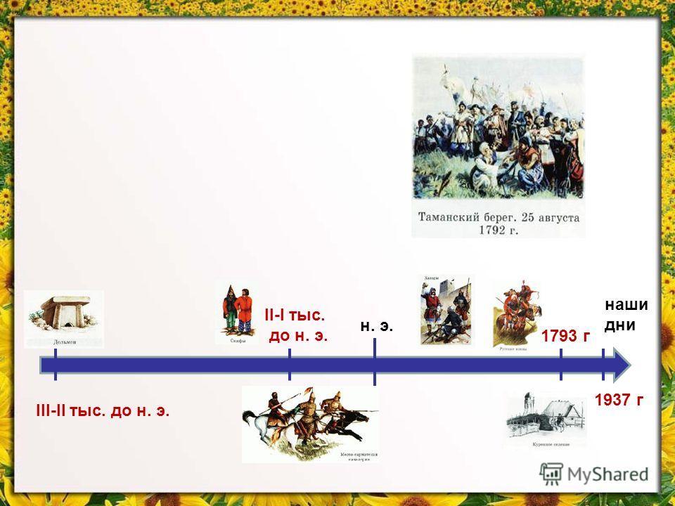н. э. наши дни 1937 г 1793 г III-II тыс. до н. э. II-I тыс. до н. э.