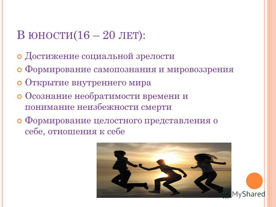 В ЮНОСТИ (16 – 20 ЛЕТ ): Достижение социальной зрелости Формирование самопознания и мировоззрения Открытие внутреннего мира Осознание необратимости времени и понимание неизбежности смерти Формирование целостного представления о себе, отношения к себе