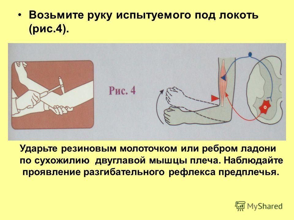 Возьмите руку испытуемого под локоть (рис.4). Ударьте резиновым молоточком или ребром ладони по сухожилию двуглавой мышцы плеча. Наблюдайте проявление разгибательного рефлекса предплечья.