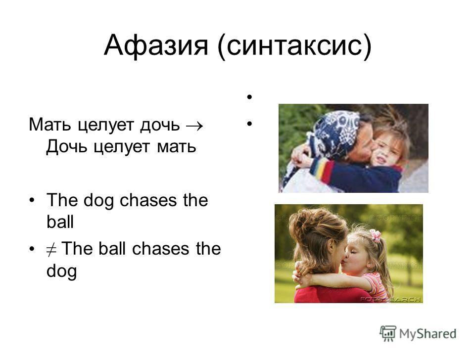 Афазия (синтаксис) Мать целует дочь Дочь целует мать The dog chases the ball The ball chases the dog