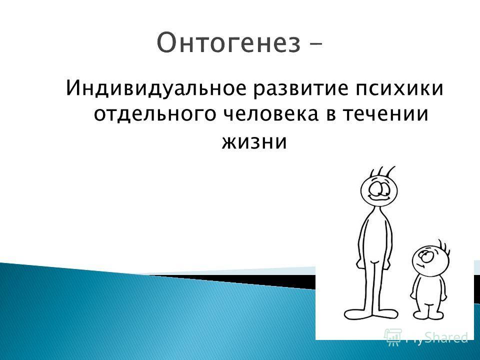 Онтогенез - Индивидуальное развитие психики отдельного человека в течении жизни