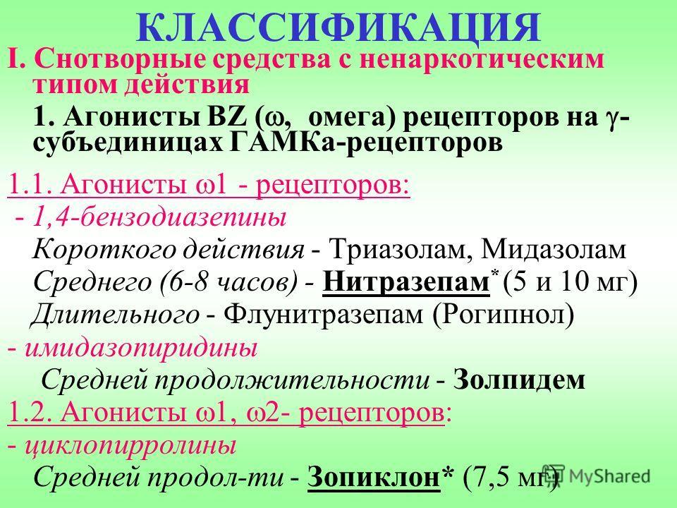 КЛАССИФИКАЦИЯ I. Снотворные средства с ненаркотическим типом действия 1. Агонисты BZ (, омега) рецепторов на - субъединицах ГАМКа-рецепторов 1.1. Агонисты 1 - рецепторов: - 1,4-бензодиазепины Короткого действия - Триазолам, Мидазолам Среднего (6-8 ча