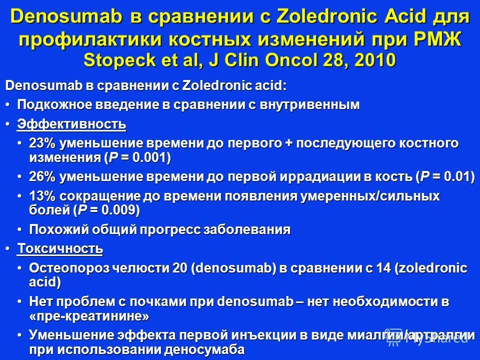 Denosumab в сравнении с Zoledronic Acid для профилактики костных изменений при РМЖ Stopeck et al, J Clin Oncol 28, 2010 Denosumab в сравнении с Zoledronic acid: Подкожное введение в сравнении с внутривеннымПодкожное введение в сравнении с внутривенны