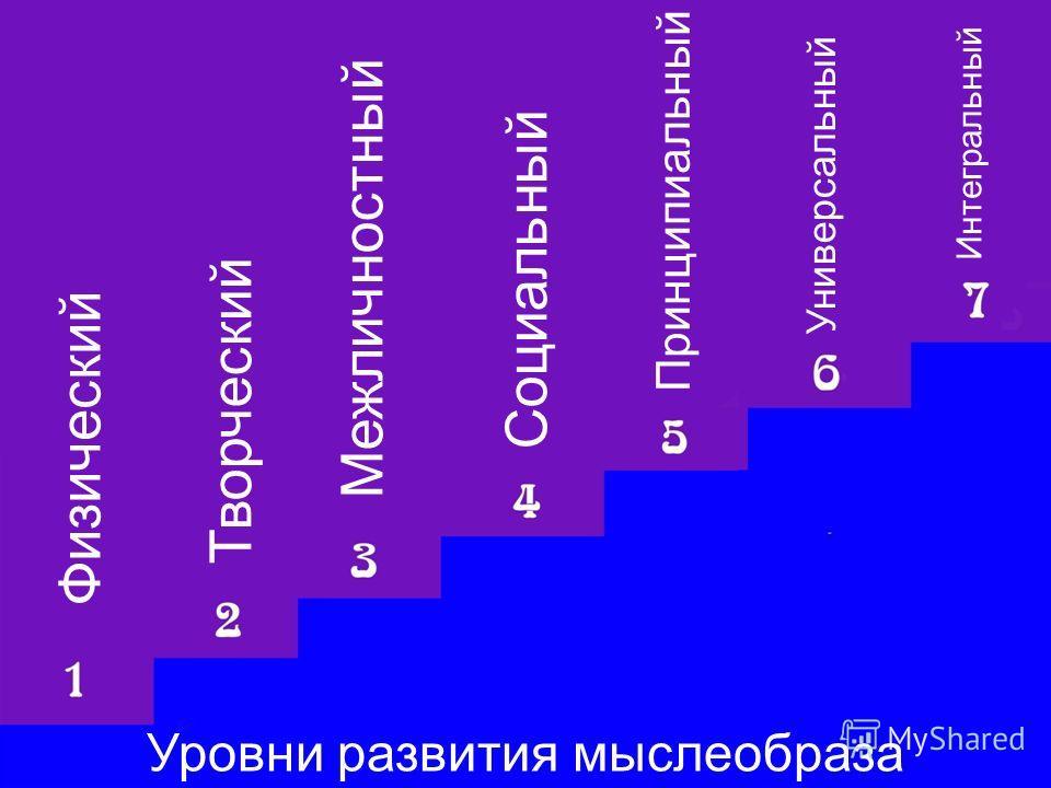 Уровни развития мыслеобраза Физический Творческий Межличностный Социальный Принципиальный Универсальный Интегральный