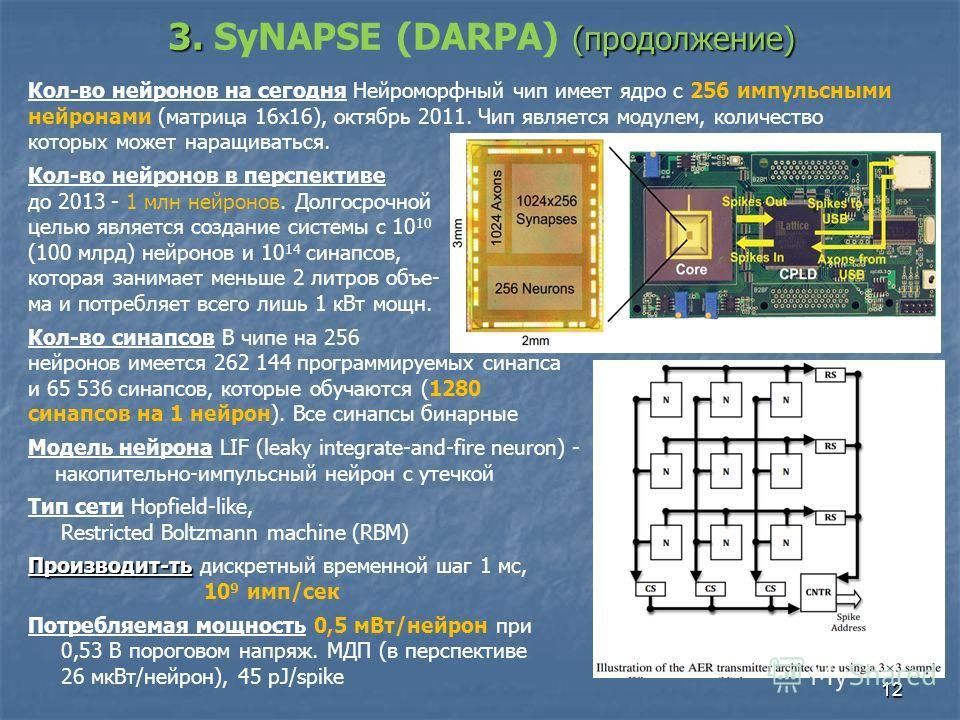 12 Кол-во нейронов на сегодня Нейроморфный чип имеет ядро с 256 импульсными нейронами (матрица 16х16), октябрь 2011. Чип является модулем, количество которых может наращиваться. Кол-во нейронов в перспективе до 2013 - 1 млн нейронов. Долгосрочной цел