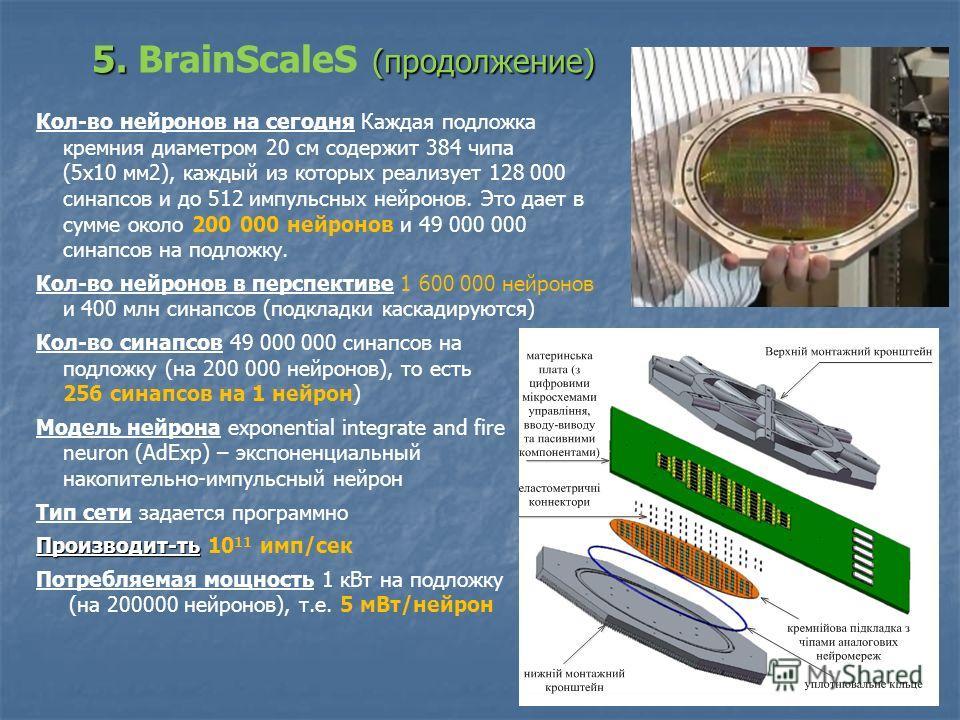 18 Кол-во нейронов на сегодня Каждая подложка кремния диаметром 20 см содержит 384 чипа (5х10 мм2), каждый из которых реализует 128 000 синапсов и до 512 импульсных нейронов. Это дает в сумме около 200 000 нейронов и 49 000 000 синапсов на подложку.