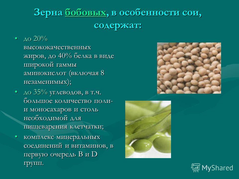 Зерна бобовых, в особенности сои, содержат: бобовых до 20% высококачественных жиров, до 40% белка в виде широкой гаммы аминокислот (включая 8 незаменимых);до 20% высококачественных жиров, до 40% белка в виде широкой гаммы аминокислот (включая 8 незам