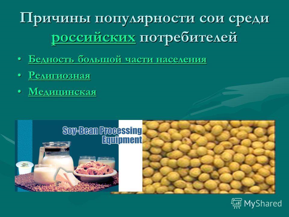 Причины популярности сои среди российских потребителей российских Бедность большой части населенияБедность большой части населенияБедность большой части населенияБедность большой части населения РелигиознаяРелигиознаяРелигиозная МедицинскаяМедицинска