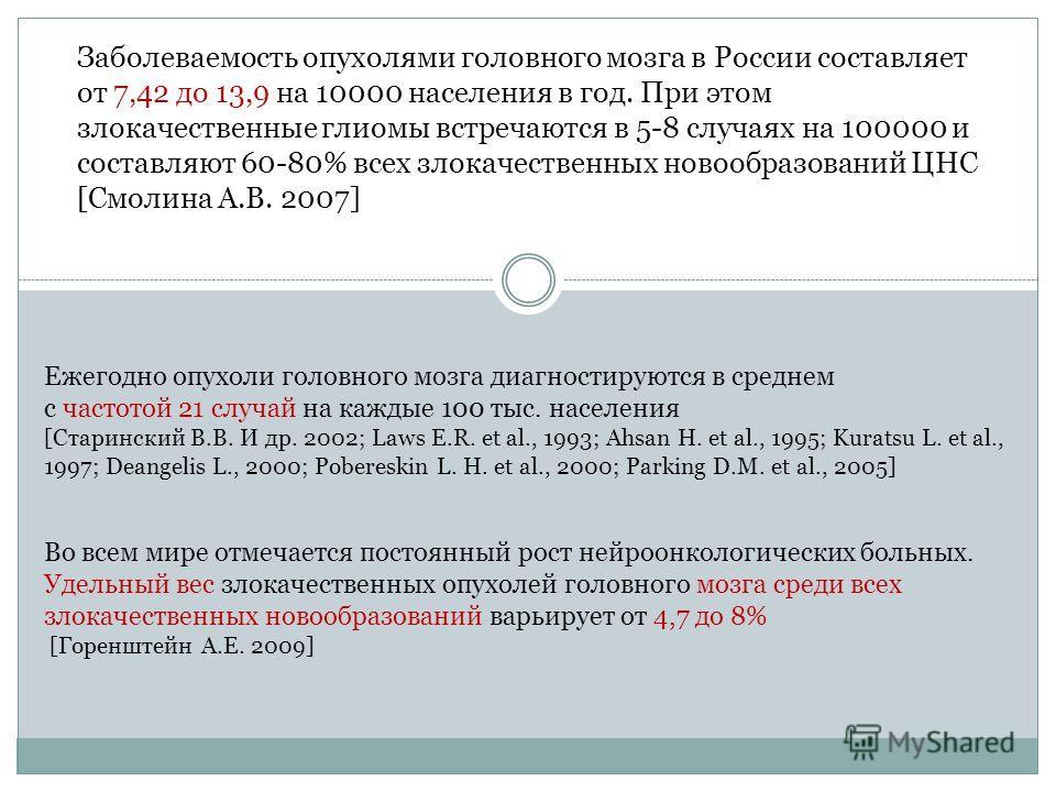 Заболеваемость опухолями головного мозга в России составляет от 7,42 до 13,9 на 10000 населения в год. При этом злокачественные глиомы встречаются в 5-8 случаях на 100000 и составляют 60-80% всех злокачественных новообразований ЦНС [Смолина А.В. 2007