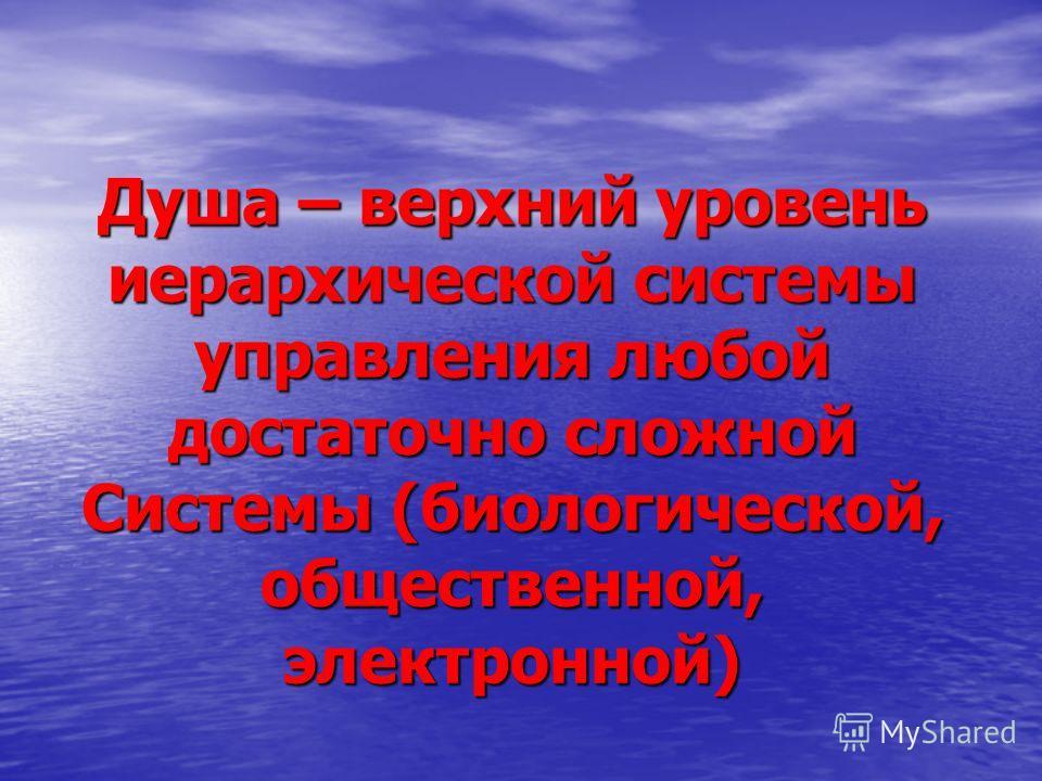 Душа – верхний уровень иерархической системы управления любой достаточно сложной Системы (биологической, общественной, электронной)