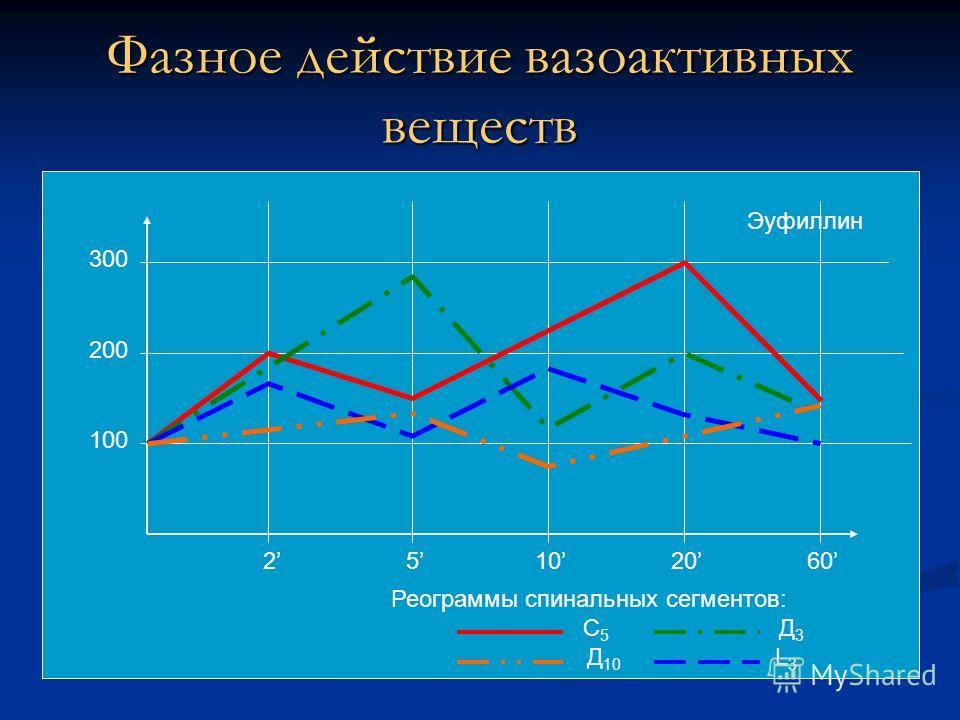 Фазное действие вазоактивных веществ Реограммы спинальных сегментов: С 5 Д 3 Д 10 L 3 Эуфиллин 2510202060 100 200 300