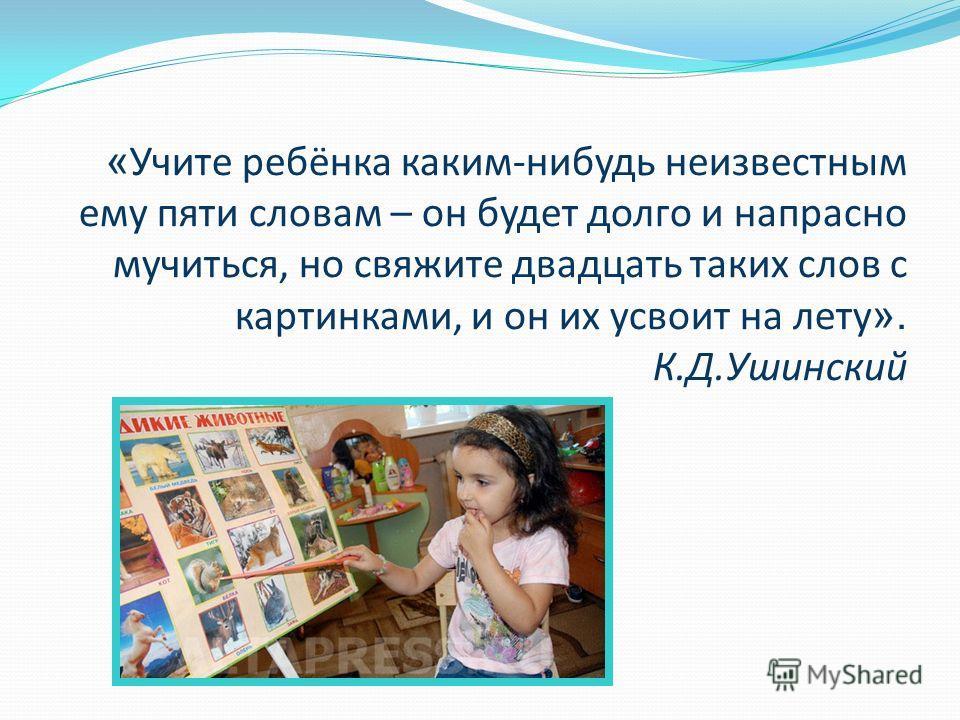 « Учите ребёнка каким-нибудь неизвестным ему пяти словам – он будет долго и напрасно мучиться, но свяжите двадцать таких слов с картинками, и он их усвоит на лету ». К.Д.Ушинский