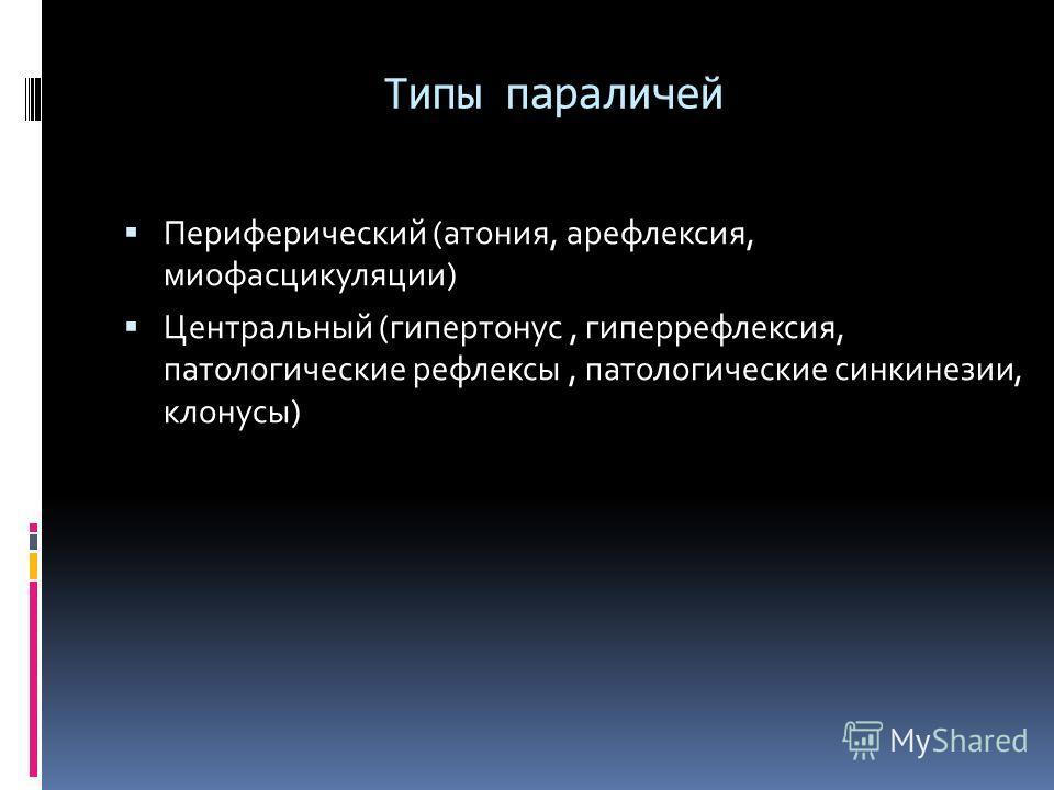 Типы параличей Периферический (атония, арефлексия, миофасцикуляции) Центральный (гипертонус, гиперрефлексия, патологические рефлексы, патологические синкинезии, клонусы)