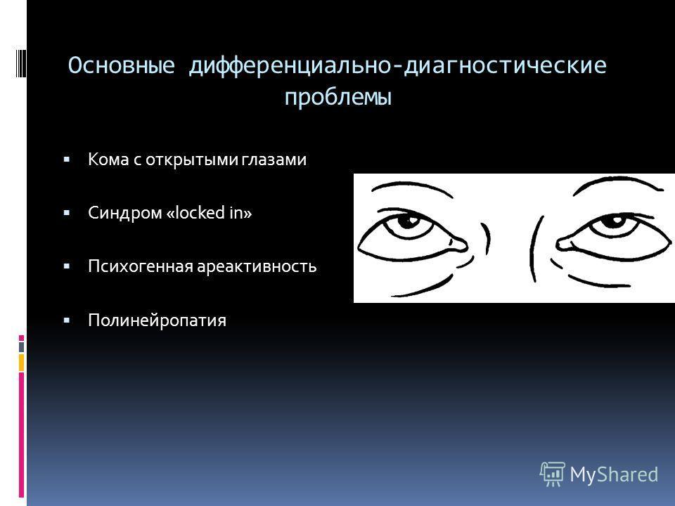 Основные дифференциально-диагностические проблемы Кома с открытыми глазами Синдром «locked in» Психогенная ареактивность Полинейропатия