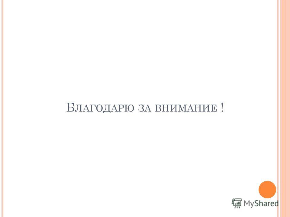 Б ЛАГОДАРЮ ЗА ВНИМАНИЕ !