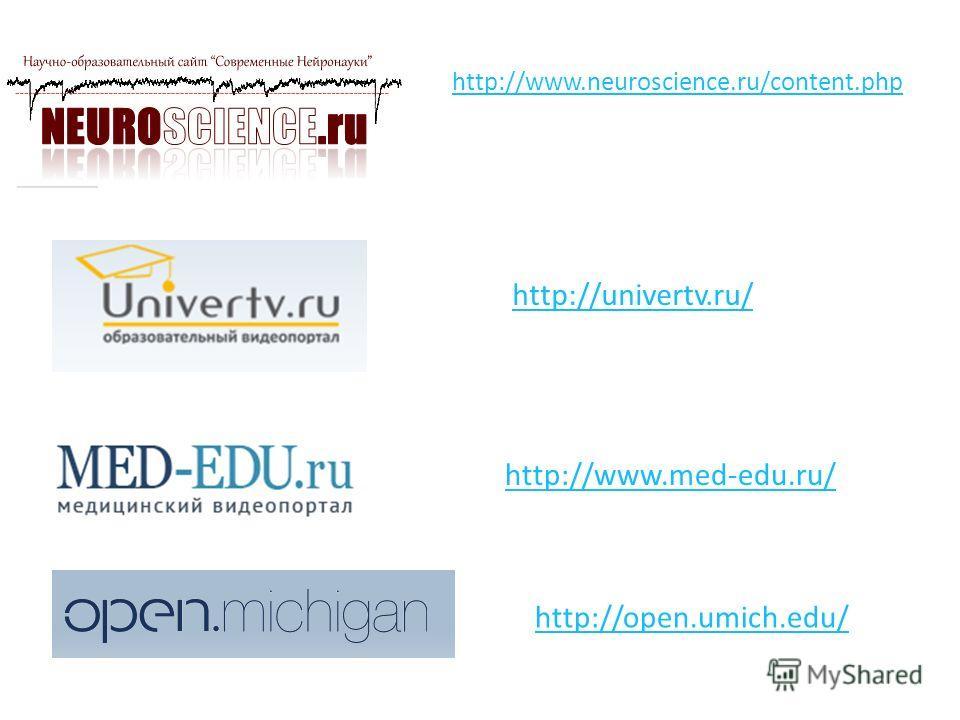 http://www.neuroscience.ru/content.php http://univertv.ru/ http://www.med-edu.ru/ http://open.umich.edu/