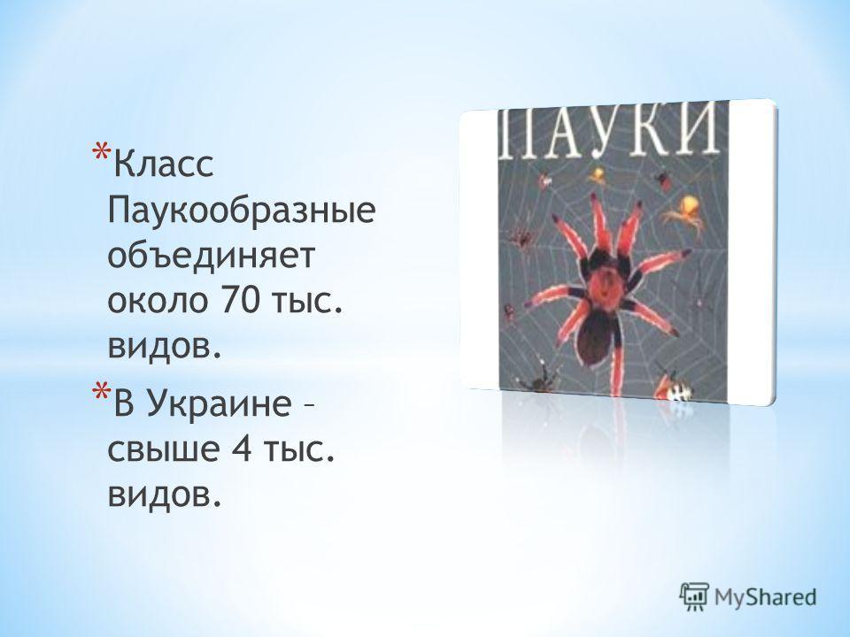 * Класс Паукообразные объединяет около 70 тыс. видов. * В Украине – свыше 4 тыс. видов.