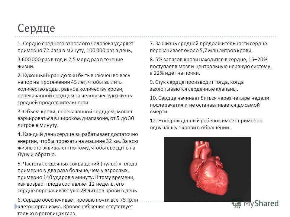 Сердце 1. Сердце среднего взрослого человека ударяет примерно 72 раза в минуту, 100 000 раз в день, 3 600 000 раз в год и 2,5 млрд раз в течение жизни. 2. Кухонный кран должн быть включен во весь напор на протяжении 45 лет, чтобы вылить количество во