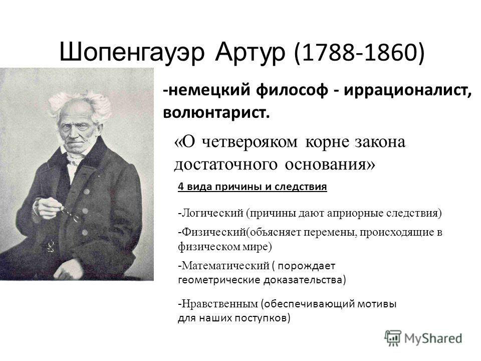 Шопенгауэр Артур (1788-1860) -немецкий философ - иррационалист, волюнтарист. «О четверояком корне закона достаточного основания» -Логический (причины дают априорные следствия) -Физический(объясняет перемены, происходящие в физическом мире) -Математич