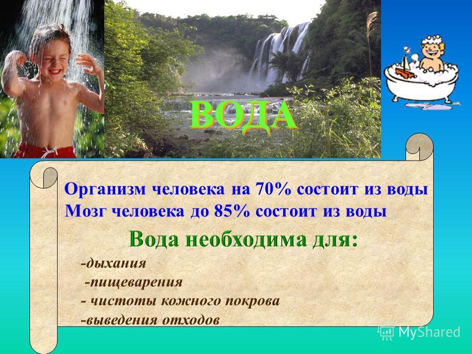 ВОДА ВОДА Организм человека на 70% состоит из воды Мозг человека до 85% состоит из воды