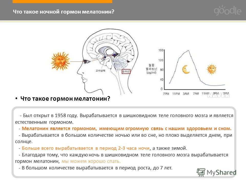 Что такое ночной гормон мелатонин? Что такое гормон мелатонин? - Был открыт в 1958 году. Вырабатывается в шишковидном теле головного мозга и является естественным гормоном. - Мелатонин является гормоном, имеющим огромную связь с нашим здоровьем и сно