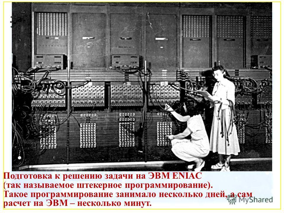 Подготовка к решению задачи на ЭВМ ENIAC (так называемое штекерное программирование). Такое программирование занимало несколько дней, а сам расчет на ЭВМ – несколько минут.