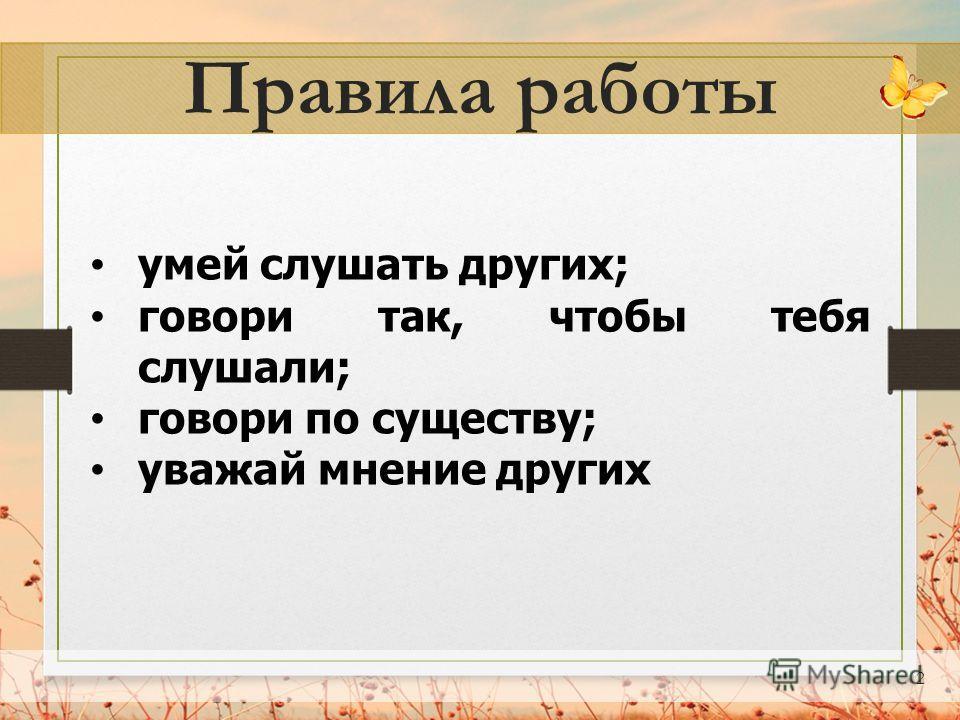 2 Правила работы умей слушать других; говори так, чтобы тебя слушали; говори по существу; уважай мнение других