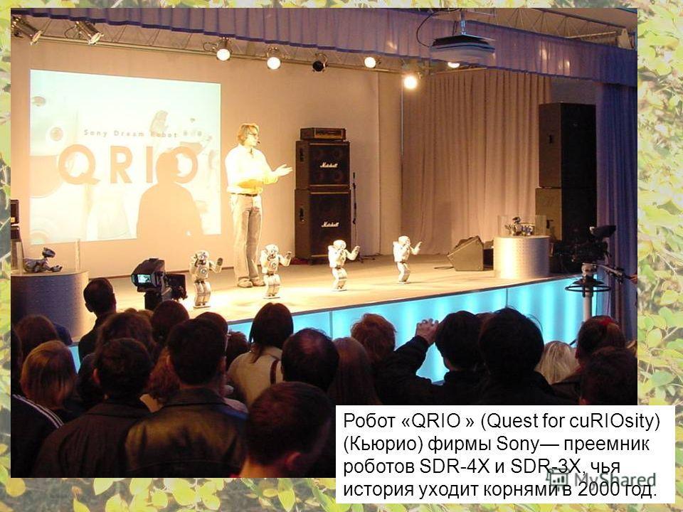 Робот «QRIO » (Quest for cuRIOsity) (Кьюрио) фирмы Sony преемник роботов SDR-4Х и SDR-3X, чья история уходит корнями в 2000 год.