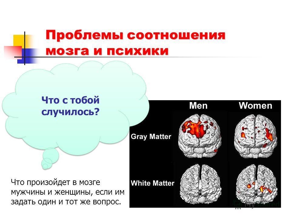 Проблемы соотношения мозга и психики Что произойдет в мозге мужчины и женщины, если им задать один и тот же вопрос.