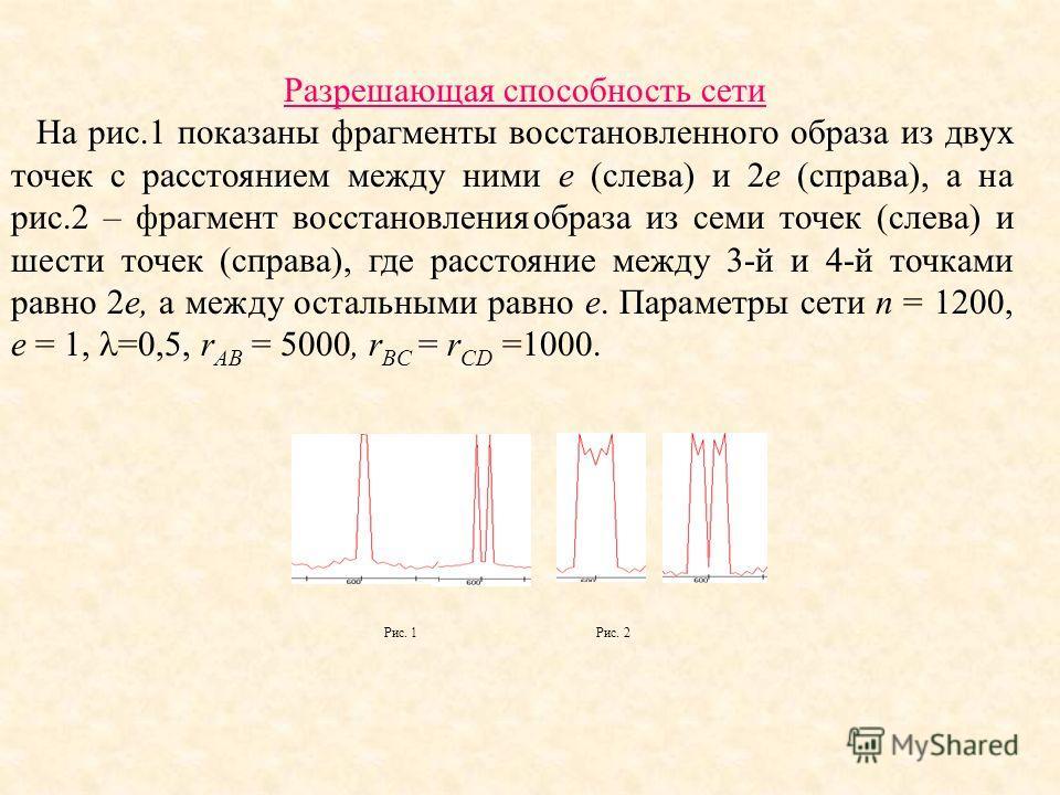 Разрешающая способность сети На рис.1 показаны фрагменты восстановленного образа из двух точек с расстоянием между ними e (слева) и 2e (справа), а на рис.2 – фрагмент восстановления образа из семи точек (слева) и шести точек (справа), где расстояние
