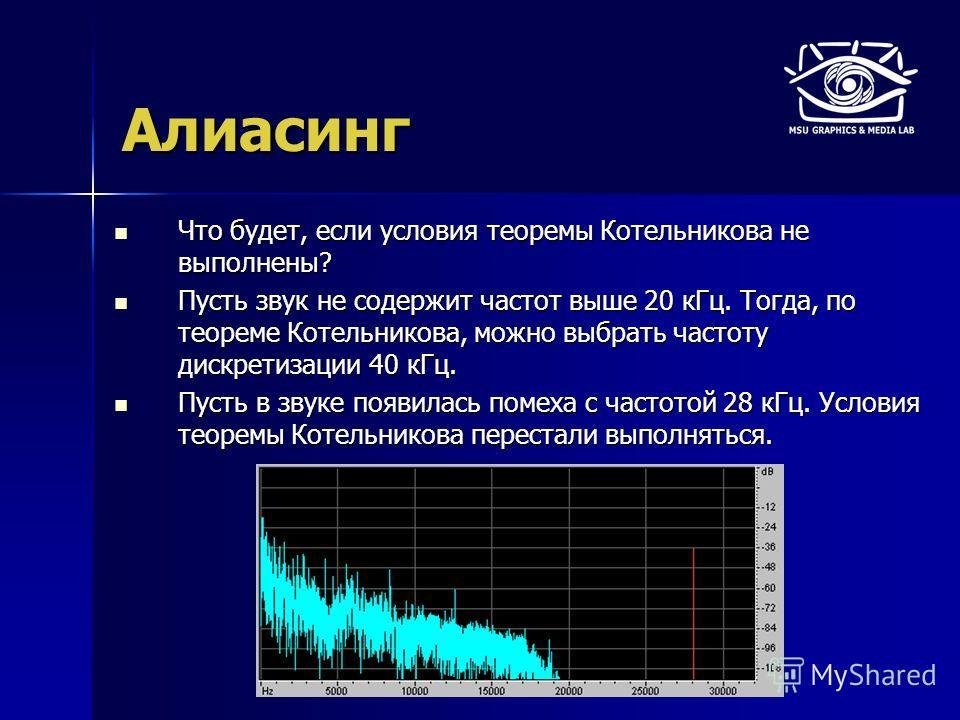 Алиасинг Что будет, если условия теоремы Котельникова не выполнены? Что будет, если условия теоремы Котельникова не выполнены? Пусть звук не содержит частот выше 20 кГц. Тогда, по теореме Котельникова, можно выбрать частоту дискретизации 40 кГц. Пуст