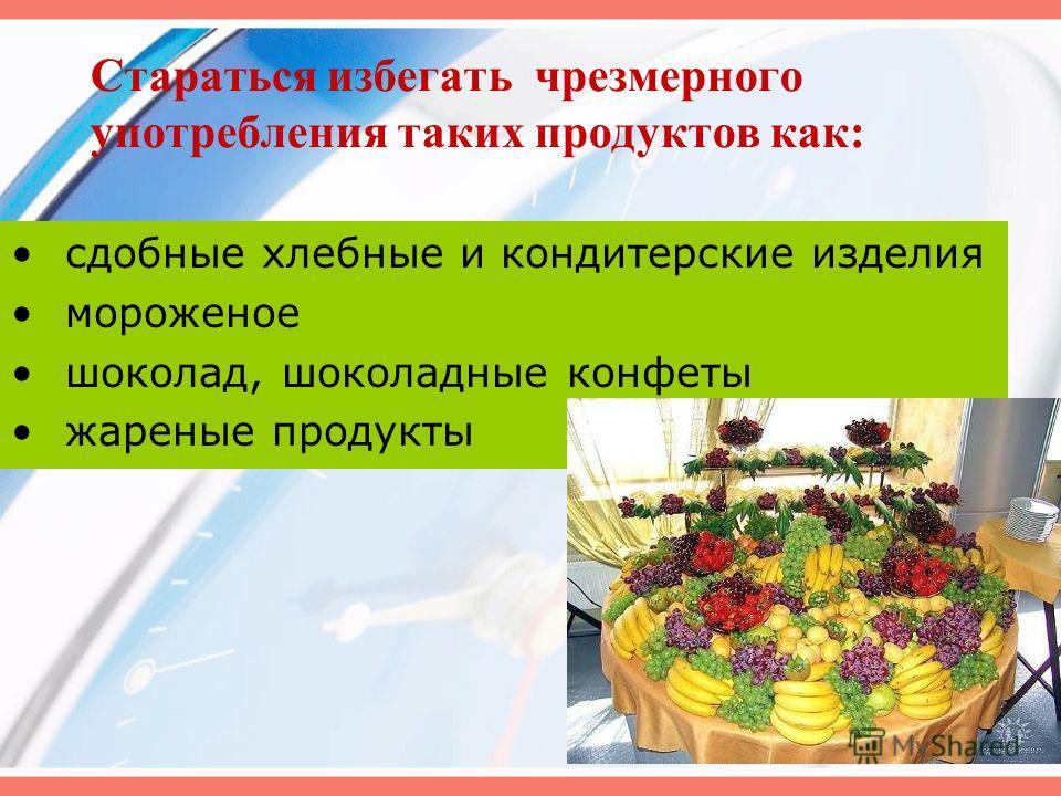 Стараться избегать чрезмерного употребления таких продуктов как: сдобные хлебные и кондитерские изделия мороженое шоколад, шоколадные конфеты жареные продукты