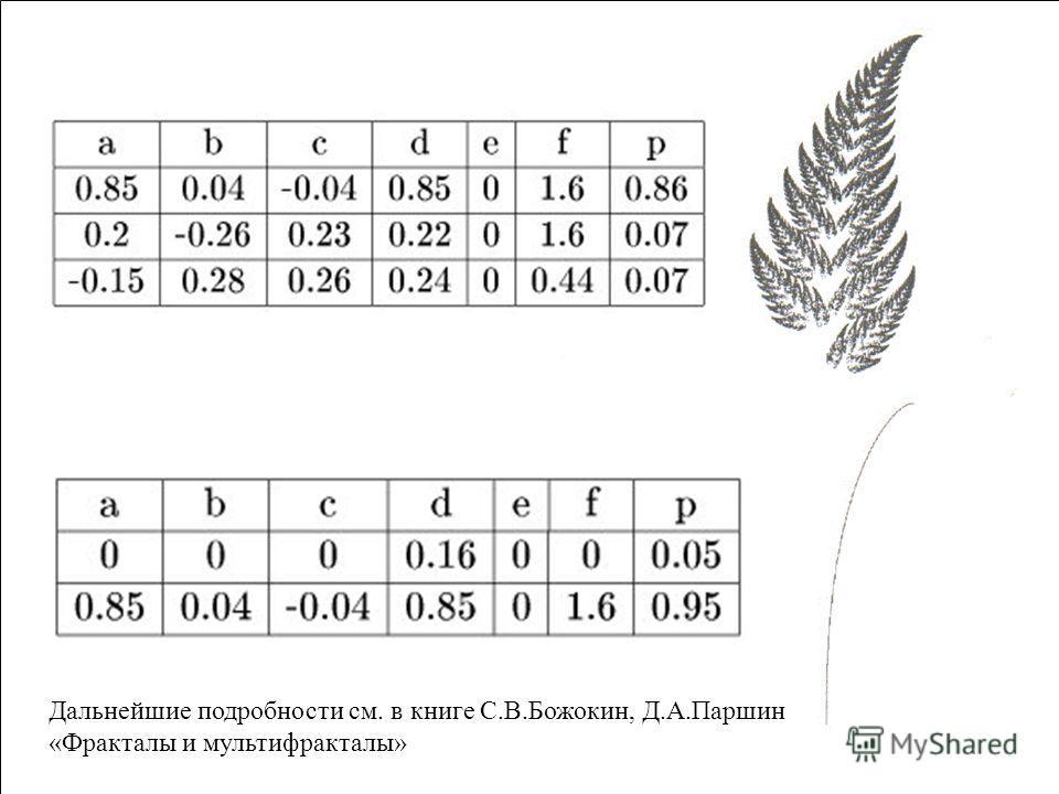 Дальнейшие подробности см. в книге С.В.Божокин, Д.А.Паршин «Фракталы и мультифракталы»