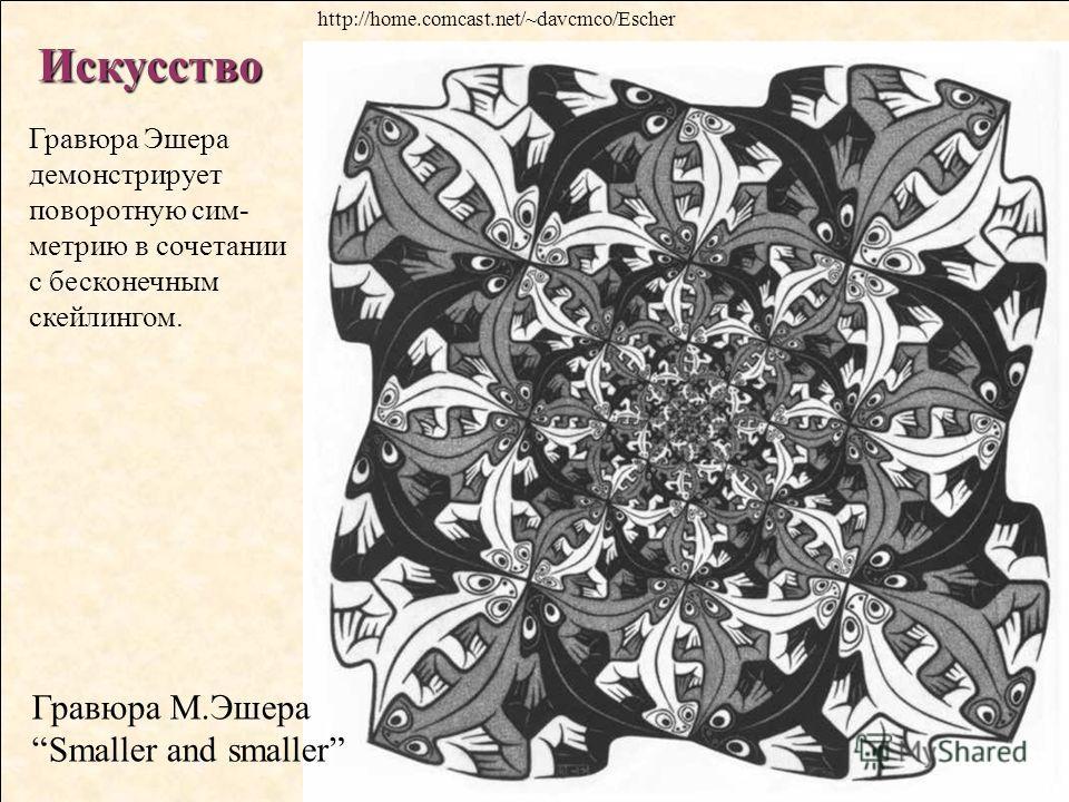 Искусство Гравюра М.Эшера Smaller and smaller Гравюра Эшера демонстрирует поворотную сим- метрию в сочетании с бесконечным скейлингом. http://home.comcast.net/~davcmco/Escher