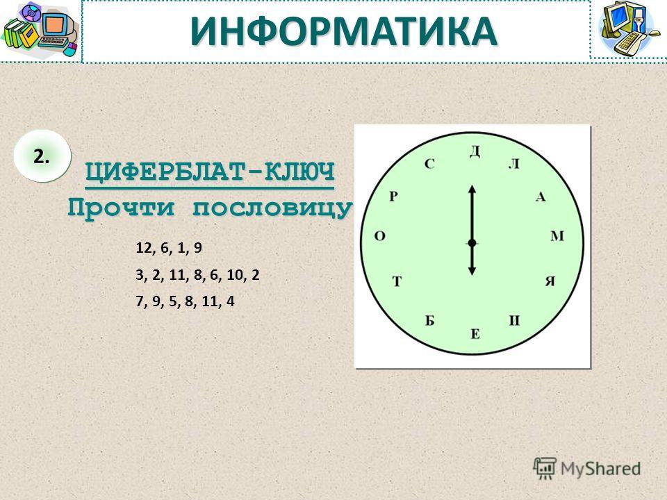 ЦИФЕРБЛАТ-КЛЮЧ Прочти пословицу 12, 6, 1, 9 3, 2, 11, 8, 6, 10, 2 7, 9, 5, 8, 11, 4 ИНФОРМАТИКА 2.