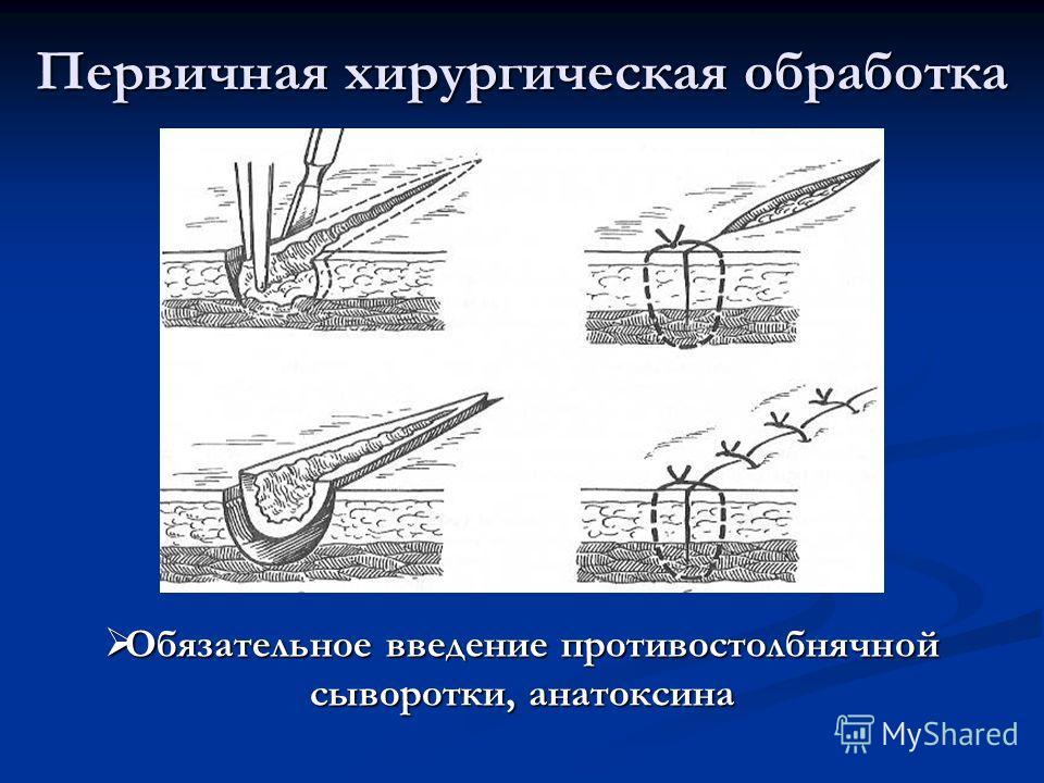 Первичная хирургическая обработка Обязательное введение противостолбнячной сыворотки, анатоксина Обязательное введение противостолбнячной сыворотки, анатоксина