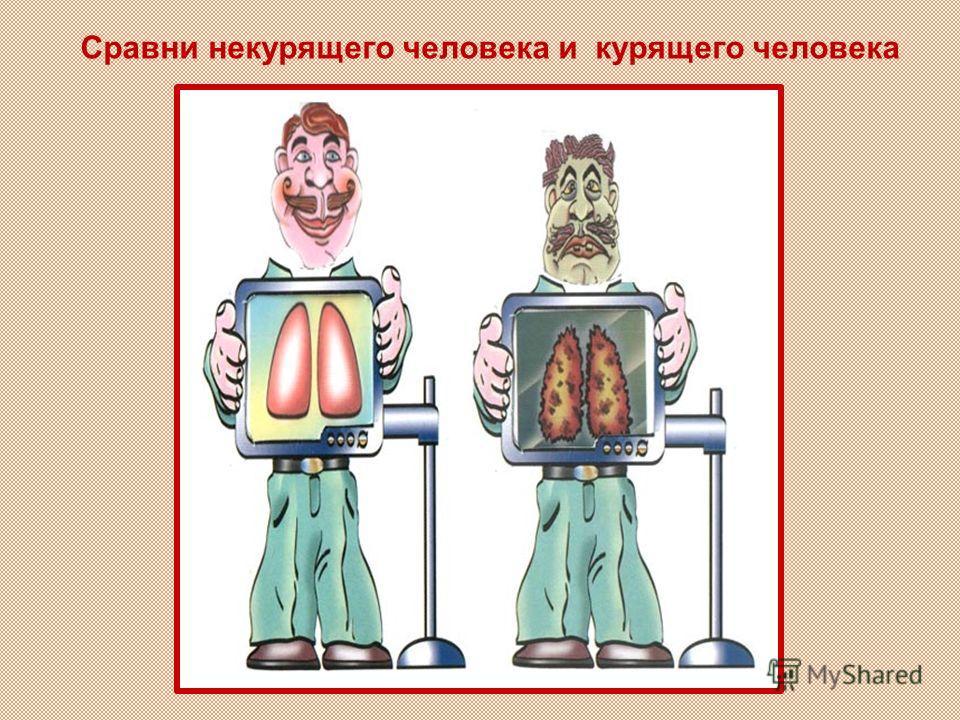 Сравни некурящего человека и курящего человека