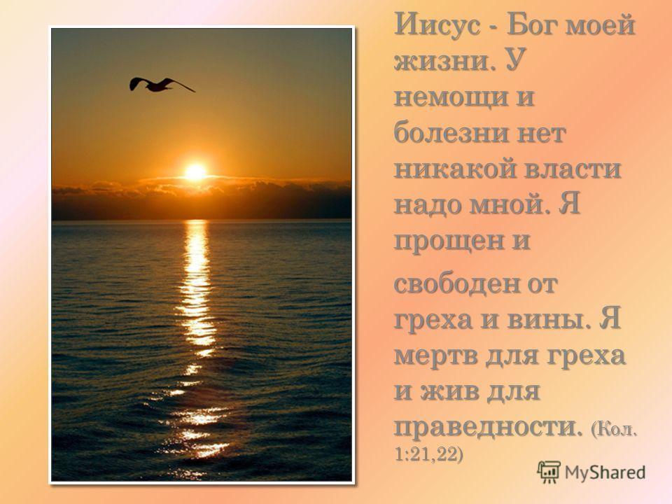 Иисус - Бог моей жизни. У немощи и болезни нет никакой власти надо мной. Я прощен и свободен от греха и вины. Я мертв для греха и жив для праведности. (Кол. 1:21,22)