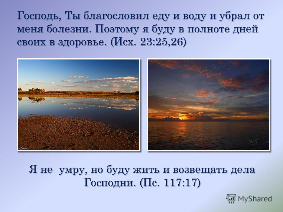 Господь, Ты благословил еду и воду и убрал от меня болезни. Поэтому я буду в полноте дней своих в здоровье. (Исх. 23:25,26) Я не умру, но буду жить и возвещать дела Господни. (Пс. 117:17)