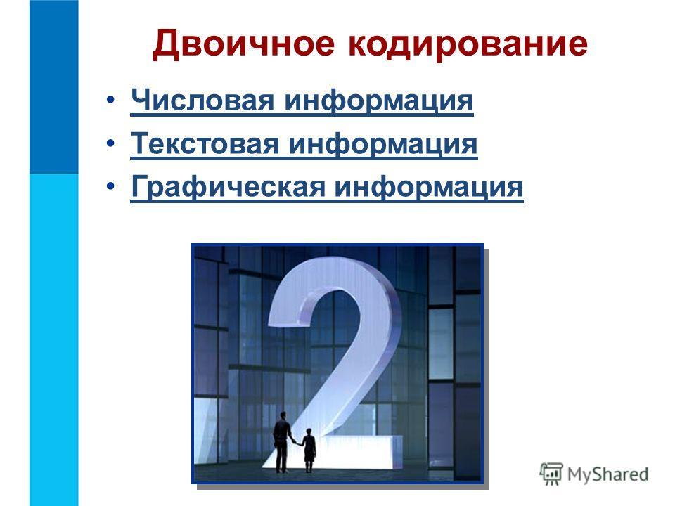 Числовая информация Текстовая информация Графическая информация Двоичное кодирование