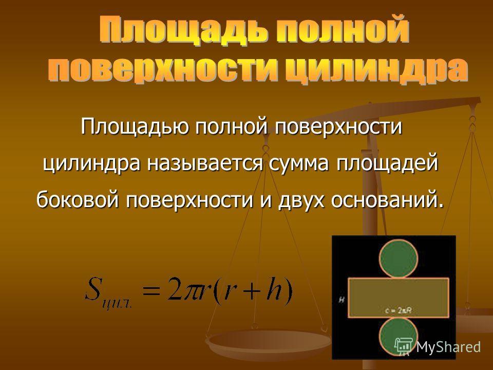 Площадью полной поверхности цилиндра называется сумма площадей боковой поверхности и двух оснований. Площадью полной поверхности цилиндра называется сумма площадей боковой поверхности и двух оснований.