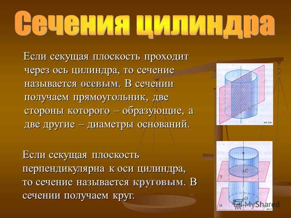 Если секущая плоскость проходит через ось цилиндра, то сечение называется осевым. В сечении получаем прямоугольник, две стороны которого – образующие, а две другие – диаметры оснований. Если секущая плоскость проходит через ось цилиндра, то сечение н